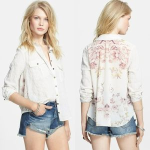 Free People Blouse Top Striped Floral Chiffon Back
